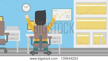 Rear view of successful businessman with raised hands sitting at workplace and a board with growing chart hanging on the wall. Vector flat design illustration. Horizontal layout.