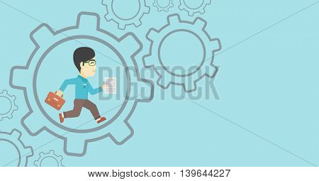 An asian businessman running with a briefcase and a document inside the gear. Concept of stress in business. Vector flat design illustration. Horizontal layout.