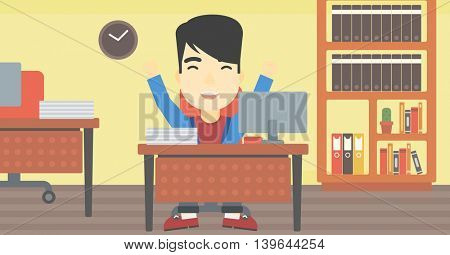 An asian  successful businessman celebrating with arms up while sitting at the table in office. Successful business concept. Vector flat design illustration. Horizontal layout.