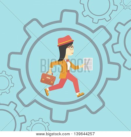 An asian  young business woman running with a briefcase and a document inside the gear. Concept of stress in business. Vector flat design illustration. Square layout.