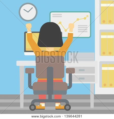 Rear view of successful An asian business woman with raised hands sitting at workplace and a board with growing chart hanging on the wall. Vector flat design illustration. Square layout.