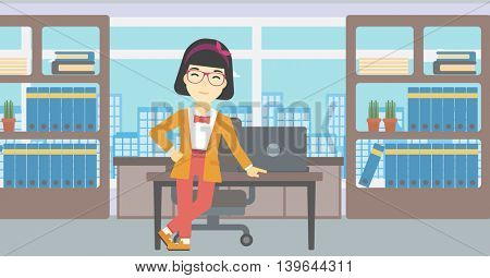 An asian  young business woman leaning on a table in the office. Young smiling business woman standing in the office. Vector flat design illustration. Horizontal layout.