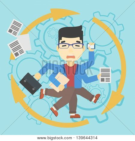 An asian businessman with many legs and hands holding papers, briefcase, smartphone. Multitasking and productivity concept. Vector flat design illustration. Square layout.