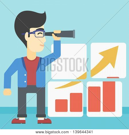 African-american businessman looking through a spyglass at chart. Man searching the opportunities for business growth. Business vision concept. Business vector flat design illustration. Square layout.