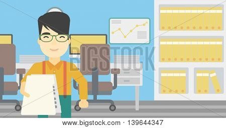 An asian  young businessman giving a resume in office. Man giving to the employer his curriculum vitae. Job interview concept. Vector flat design illustration. Horizontal layout.