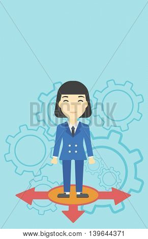 An asian  young woman standing on three alternative ways on a blue background with cogwheels. Concept of career choices. Vector flat design illustration. Vertical layout.