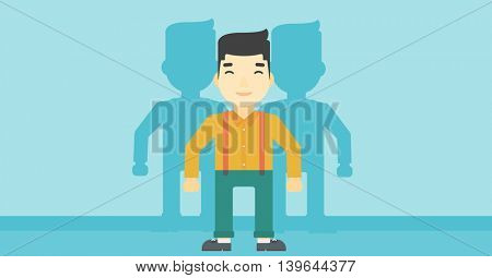 An asian  young man standing with some shadows behind him. Candidat for a position stand out from crowd. Concept of staff recruitment. Vector flat design illustration. Horizontal layout.