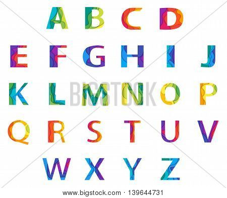 Vector colored Paper Graphic Alphabet Set. Material 3d layered alphabetic font on white background. Vector eps10 illustrator.
