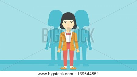 An asian  young woman standing with some shadows behind her. Candidat for a position stand out from crowd. Concept of staff recruitment. Vector flat design illustration. Horizontal layout.