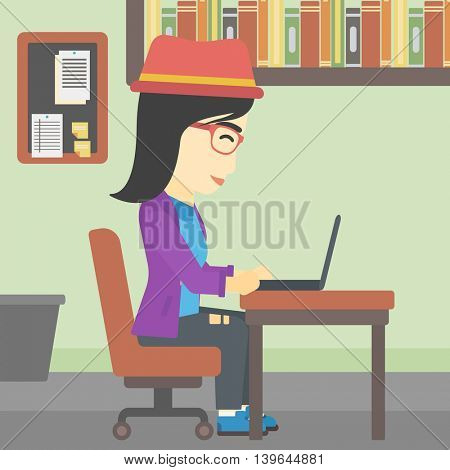 An asian young business woman working on her laptop in office. Vector flat design illustration. Square layout.