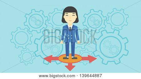An asian  young woman standing on three alternative ways on a blue background with cogwheels. Concept of career choices. Vector flat design illustration. Horizontal layout.