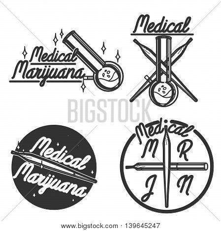 Vintage medical marijuana emblems, badges, logoes. Vector illustration EPS 10