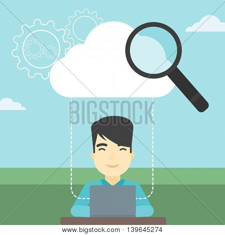 An asian businessman working on a laptop and cloud, magnifier and gears above him. Cloud computing concept. Vector flat design illustration. Square layout.