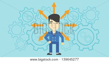 An asian  man with many arrows around his head standing on background with cogwheels. Concept of career choices. Vector flat design illustration. Horizontal layout.