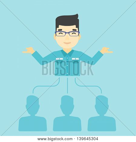 Three employees linked with an asian businessman. Businessman choosing employee. Concept of searching for stuff. Vector flat design illustration. Square layout.