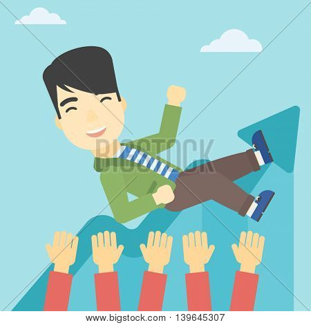 An asian young businessman get thrown into the air by coworkers during celebration. Successful business concept. Vector flat design illustration. Square layout.
