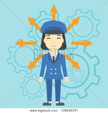 An asian  young woman with many arrows around her head standing on a blue background with cogwheels. Concept of career choices. Vector flat design illustration. Square layout.