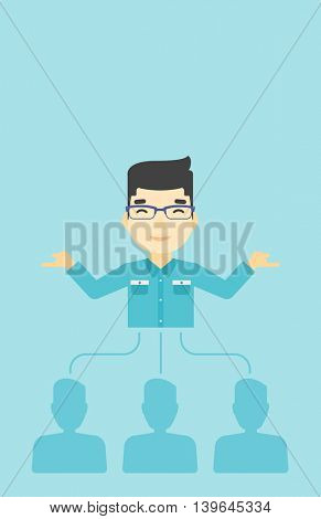 Three employees linked with an asian businessman. Businessman choosing employee. Concept of searching for stuff. Vector flat design illustration. Vertical layout.