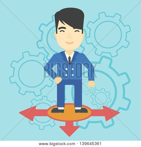An asian  man standing on three alternative ways on a blue background with cogwheels. Concept of career choices. Vector flat design illustration. Square layout.