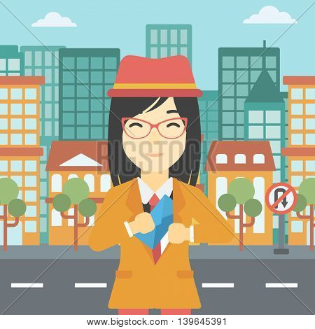An asian  young business woman putting an envelope in her pocket on a city background. Vector flat design illustration. Square layout.