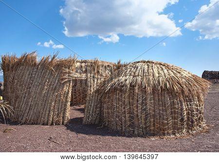 Traditional African Huts,( El Molo Huts) Lake Turkana In Kenya