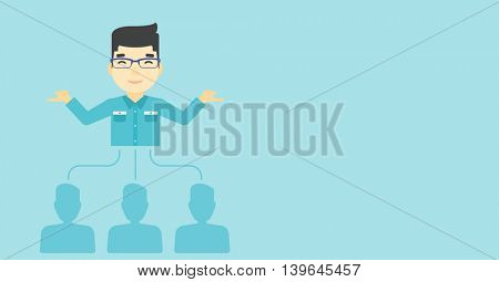 Three employees linked with an asian businessman. Businessman choosing employee. Concept of searching for stuff. Vector flat design illustration. Horizontal layout.