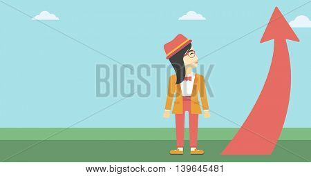 An asian  young business woman looking at a red arrow going up. Successful business concept. Vector flat design illustration. Horizontal layout.
