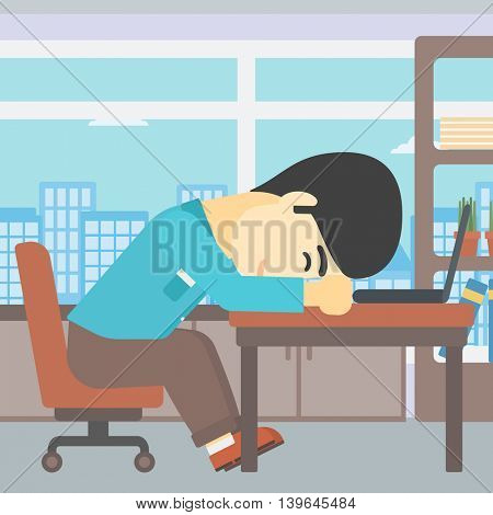 An asian  tired businessman sleeping on laptop keyboard in the office. Businessman resting at workplace. Vector flat design illustration. Square layout.
