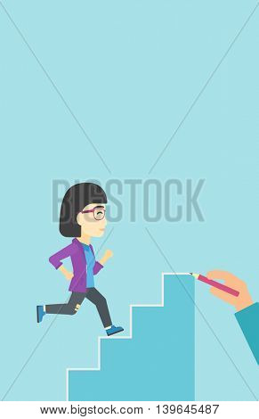 An asian  young business woman running up the stairs drawn by hand with pencile. Concept of business career. Vector flat design illustration. Vertical layout.