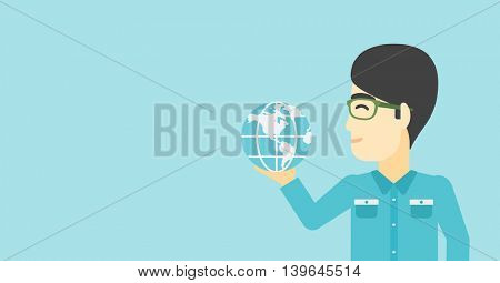An asian  young businessman holding Earth globe in hand. Concept of global business. Vector flat design illustration. Horizontal layout.