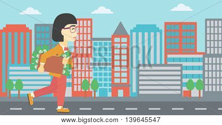 An asian  young business woman walking in the city with suitcase full of money. Vector flat design illustration. Horizontal layout.