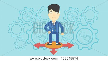 An asian  man standing on three alternative ways on a blue background with cogwheels. Concept of career choices. Vector flat design illustration. Horizontal layout.