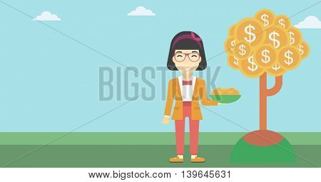An asian young business woman with basket in hands catching dollar coins from money tree. Successful business concept. Vector flat design illustration. Horizontal layout.