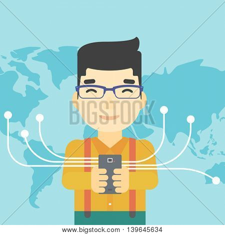 An asian  young businessman holding smartphone connected with the whole world. Concept of global business. Vector flat design illustration. Square layout.