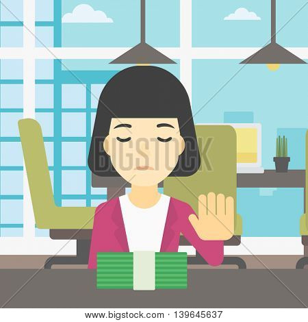 An asian  young business woman sitting at the table in office and moving dollar bills away. Vector flat design illustration. Square layout.