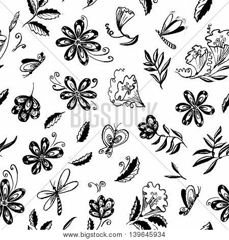 Doodle floral seamless pattern with butterfly with leaves