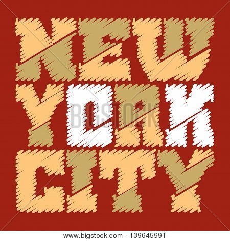 T shirt typography graphics New York. Athletic style NYC. Fashion american stylish print for sports wear. Drawn emblem. Template for apparel card poster. Symbol of big city. Vector illustration