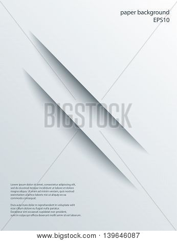 Two Diagonal Cuts in paper with shade. Vector abstract background. 3d incision.