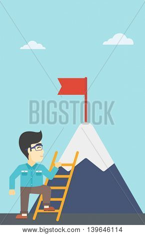An asian  young businessman standing with ladder near the mountain. Businessman climbing the mountain with a red flag on the top. Vector flat design illustration. Vertical layout.