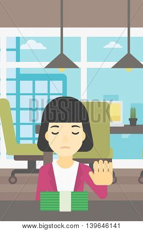 An asian  young business woman sitting at the table in office and moving dollar bills away. Vector flat design illustration. Vertical layout.