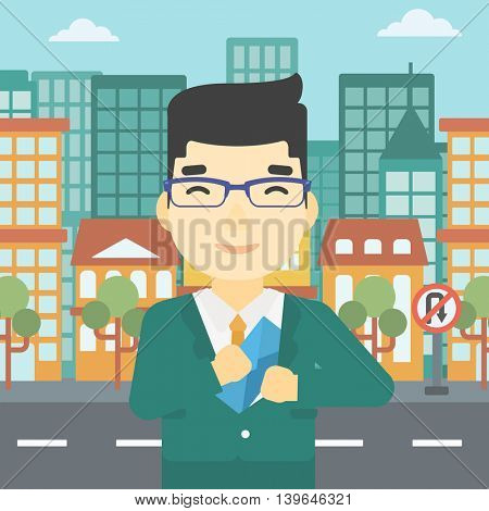 An asian  young businessman putting an envelope in his pocket on a city background. Vector flat design illustration. Square layout.