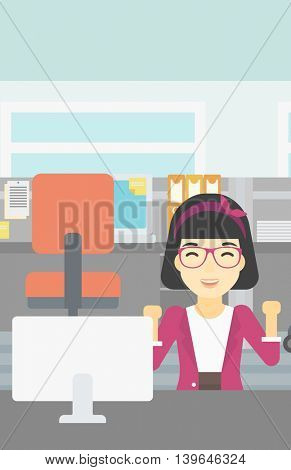 An asian young smiling business woman sitting at workplace in office and celebrating. Successful business concept. Vector flat design illustration. Vertical layout.