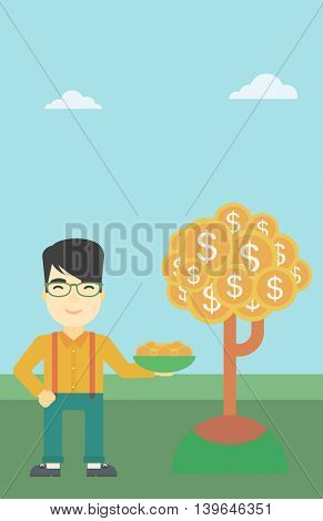 An asian  young businessman with basket in hands catching dollar coins from money tree. Successful business concept. Vector flat design illustration. Vertical layout.