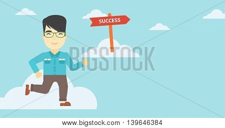 An asian young businessman running in the sky near direction sign success. Successful business concept. Vector flat design illustration. Horizontal layout.