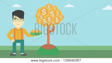 An asian  young businessman with basket in hands catching dollar coins from money tree. Successful business concept. Vector flat design illustration. Horizontal layout.