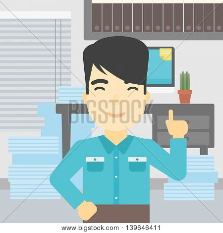 An asian young happy businessman standing in the office and pointing up with his forefinger. Business idea concept. Vector flat design illustration. Square layout.