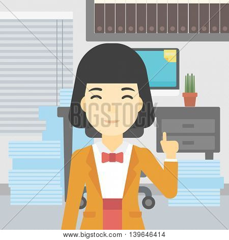 An asian young happy business woman standing in the office and pointing up with her forefinger. Business idea concept. Vector flat design illustration. Square layout.