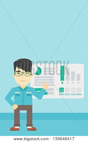 An asian businessman pointing at charts on a board during business presentation. Man giving business presentation. Business presentation in progress. Vector flat design illustration. Vertical layout.