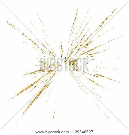 Broken glass hole grunge texture gold and white. Sketch abstract to create distressed effect. Overlay distress golden grain design. Stylish modern background for print products. Vector illustration