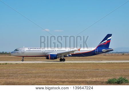 Simferopol Ukraine - September 12 2010: Aeroflot Airbus A321 is taking off from runway - side view